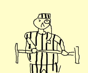 Prisoner with monocle is doing weights
