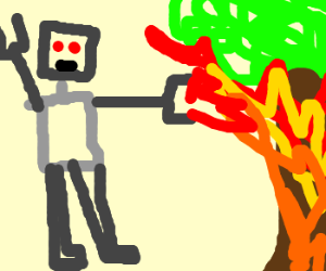 Robot putting an elfs tree on fire like a sir