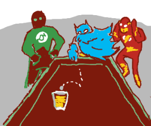 The Justice League plays a game of Quarters