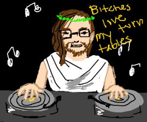 DJ Jesus works the turntables
