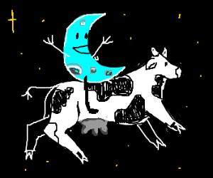 Moon riding cow.