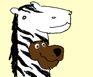 scooby is in a zebra costume