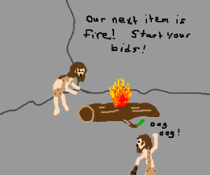 Caveman Auction on Fire. Oooh Fire!