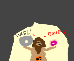 caveman invents wheel, but also DONUT!