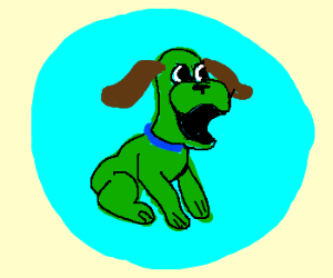 green dog is excited to be in a bubble