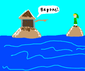 Island Java hut shouts Begone! at Link