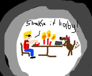 Duke Nukem's candlelight dinner with Dog