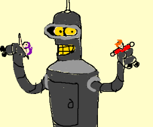 giant bender playing with little people