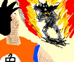 Fiery Batman out levels Goku