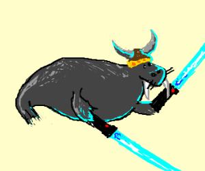Viking walrus dual-wielding lightsabers