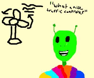 Gray alien thinks fan is a traffic controller.