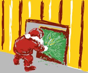 Santa gives a Christmas Tree through a chimney