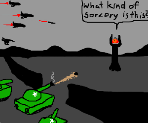 sauron gets defeated with a tank