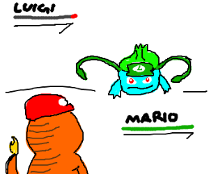 Mario and Luigi are Pokemon in battle