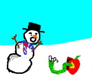 Brit snowman' s shock at bookworm eating apple