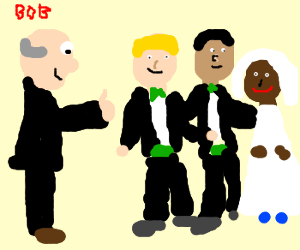 Bob approves of interracial 3-person marriage.