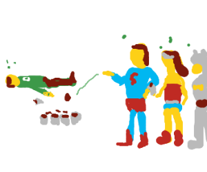 Justice League play drinking games.