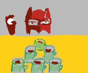 Superheroes play coffee pong