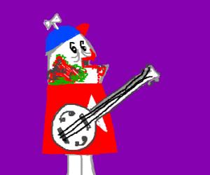 Home star zombie plays banjo
