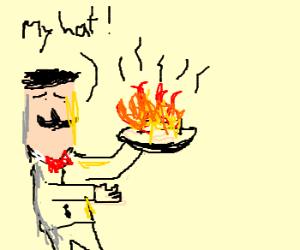 A gentleman burnt down his hat
