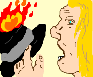 Guy with long blonde hair ready 2 eat fire hat