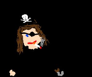 Pirate having a smoke