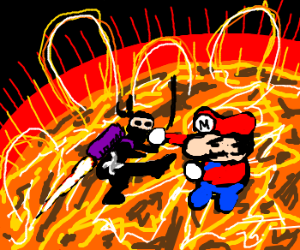 ninja with a jetpack fights mario on the sun