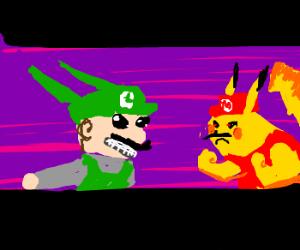 Rayquaza Luigi and Pikachu Mario.