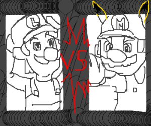 Epic battle between Luigi and Pikachu mario