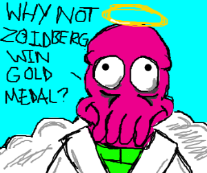 Zoidberg dreams of winning the angel olympics
