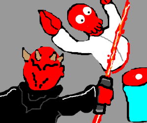 Zoidberg has been killed Darth Maul style