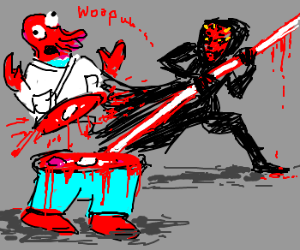 Darth Maul cuts dr. Zoidberg in half
