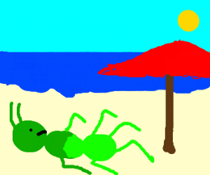 Green ant gets horrible tan