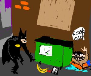 Batman picks up explosive banana,old man warns