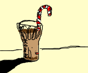 Glass of hot chocolate with candy cane straw