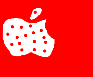 White Polka Dot Apple Logo on Red