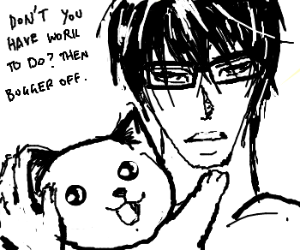 Takano Masamune with his cat