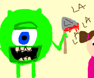 Green monster with ax killing singing girl