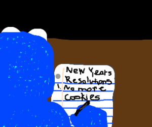 Cookie Monster makes a new years resolution