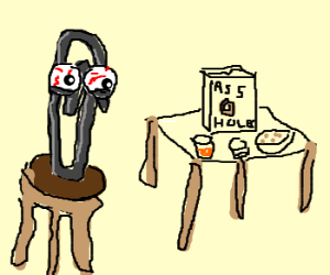 Clippy sits down for breakfast.