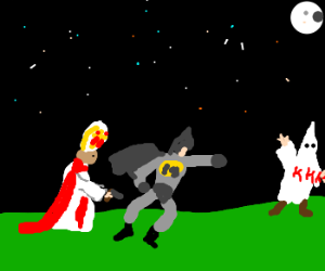 Batman and the pope hunting the KKK