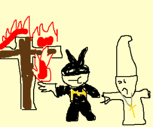 Batman taunts priest by igniting cross