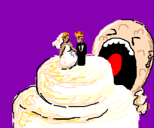 Lumpy man wants to eat royal couple
