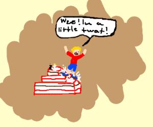 child ruins wedding cake