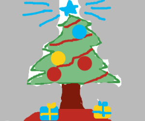 christmas tree with blue star