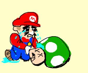 Mario despairs at the death of a 'shroom
