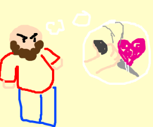 bearded man plots to kill love
