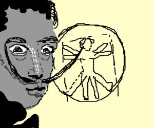 Salvador Dali eye-jabs Leonardo da Vinci