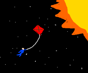 trying to reach the sun with a kite