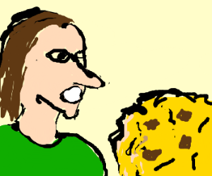 Pointy nose man admires cookie
